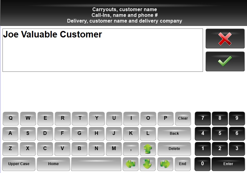 Image of Carryout Screen